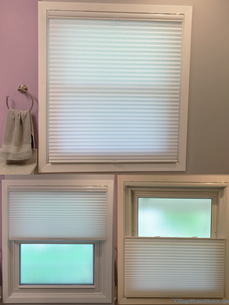 A Davenport, IA bathroom including custom blinds by Oxford House. | VillageHomeStores.com
