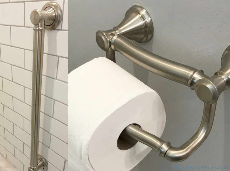 A Davenport, IA bathroom including Delta Decor assist TP holder. | VillageHomeStores.com