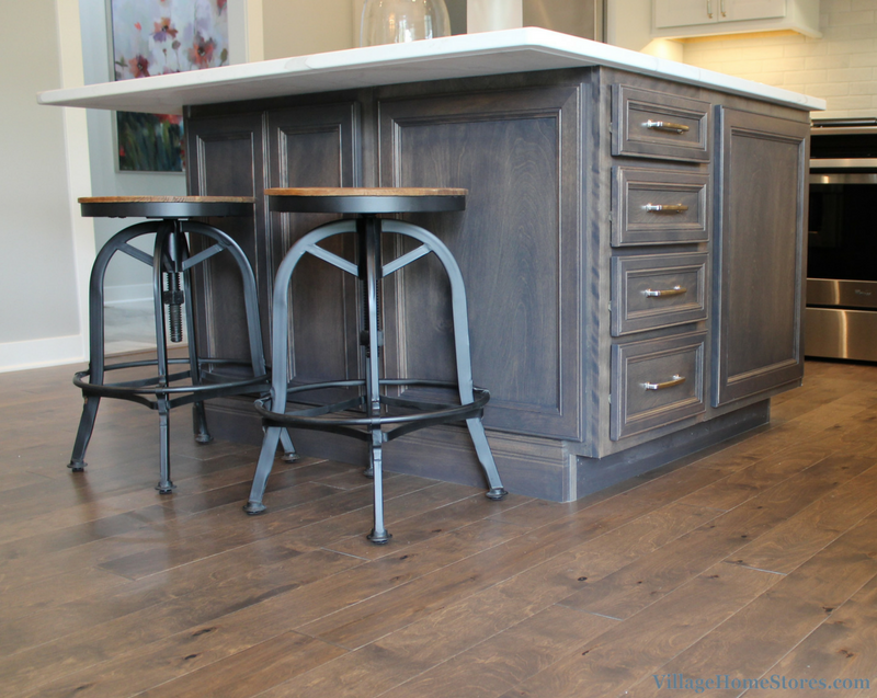 Kitchen island in Birch Stone gray stain by Koch Cabinetry. Kitchen by Village Home Stores for Wood Builder Ltd. | VillageHomeStores.com
