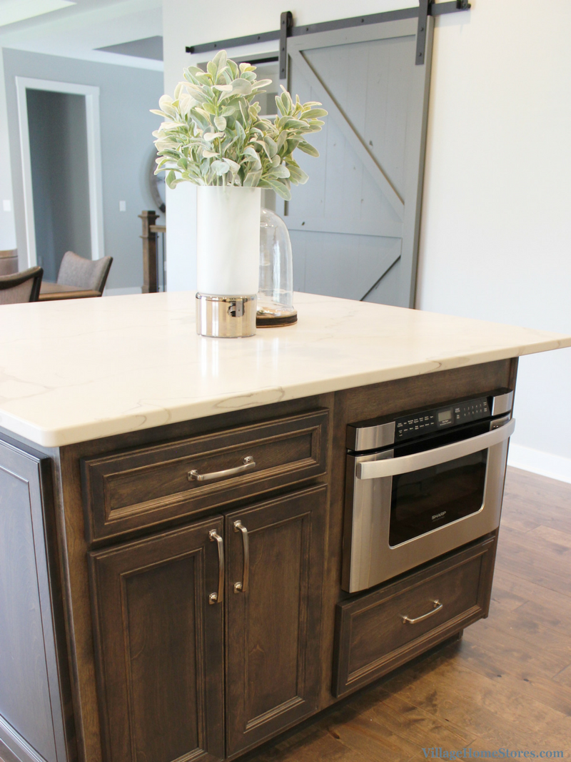 Kitchen island with Sharp microwave drawer. Kitchen by Village Home Stores for Wood Builder Ltd. | VillageHomeStores.com