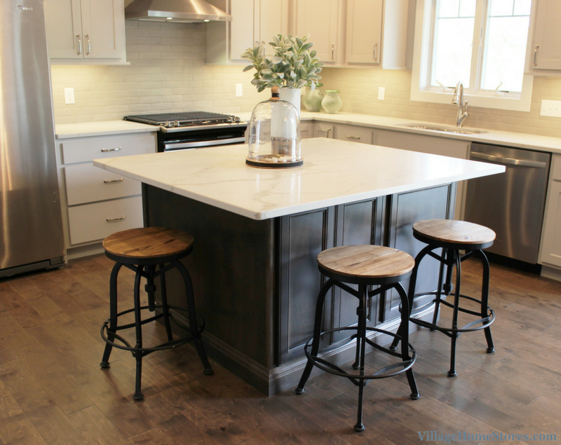 Gray stained square shaped island by Koch Cabinetry. Kitchen by Village Home Stores for Wood Builder Ltd. | VillageHomeStores.com