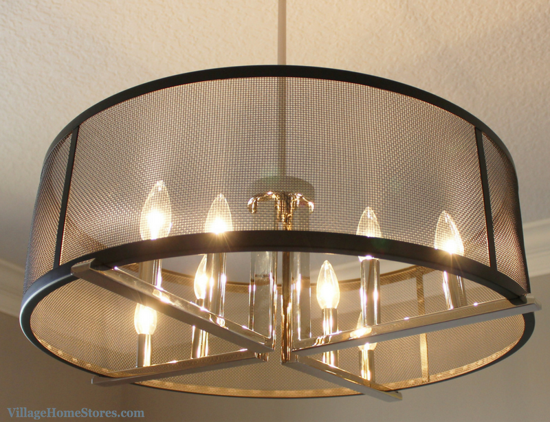 Kichler 8 light caged pendant in a Bettendorf, IA dining room. Lighting by Village Home Stores for Heartland Builders. | VillageHomeStores.com