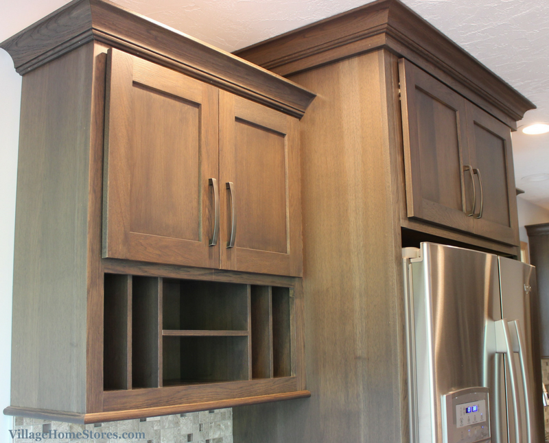 Mail organizer cabinet in a Bettendorf, IA galley kitchen remodeled completely from start to finish by Village Home Stores. | VillageHomeStores.com