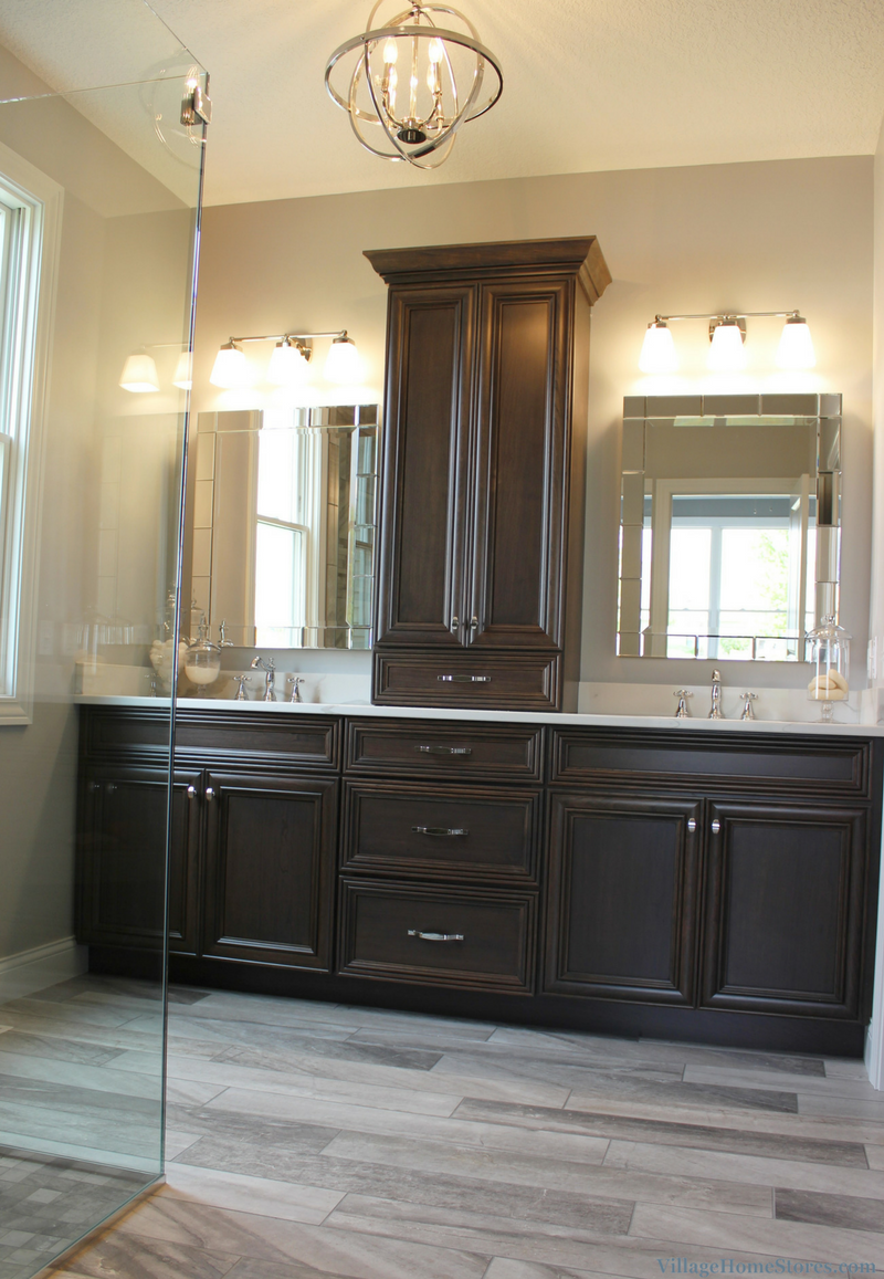 Master Bathroom cabinetry in a Bettendorf, IA home. Design and materials by Village Home Stores for Aspen Homes LLC. | VillageHomeStores.com