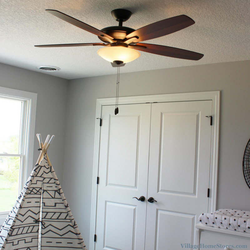 Minka Mojo fan in a Bettendorf, IA home. Design and materials by Village Home Stores for Aspen Homes LLC. | VillageHomeStores.com
