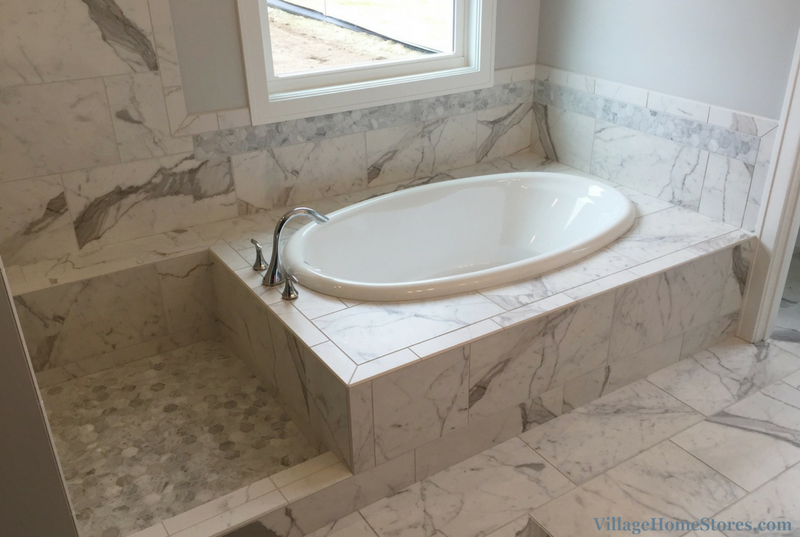 Tiled tub surround in a home built by Hazelwood Homes. | VillageHomeStores.com