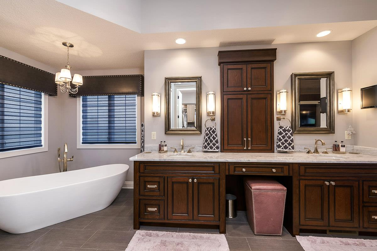 Custom Master Bath cabinetry in a new home built by Bob Walter Homes. | VillageHomeStores.com | Photo by Andy Laake, Chipshot Media
