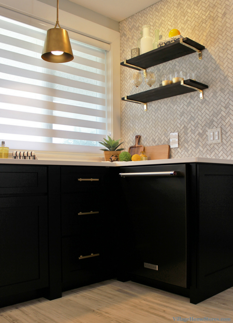 Black painted cabinets, Black Stainless steel, and stylish open shelving. | VillageHomeStores.com