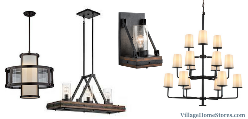 Great Room lighting selections with Rustic details in a Quad Cities Area home. | VillageHomeStores.com