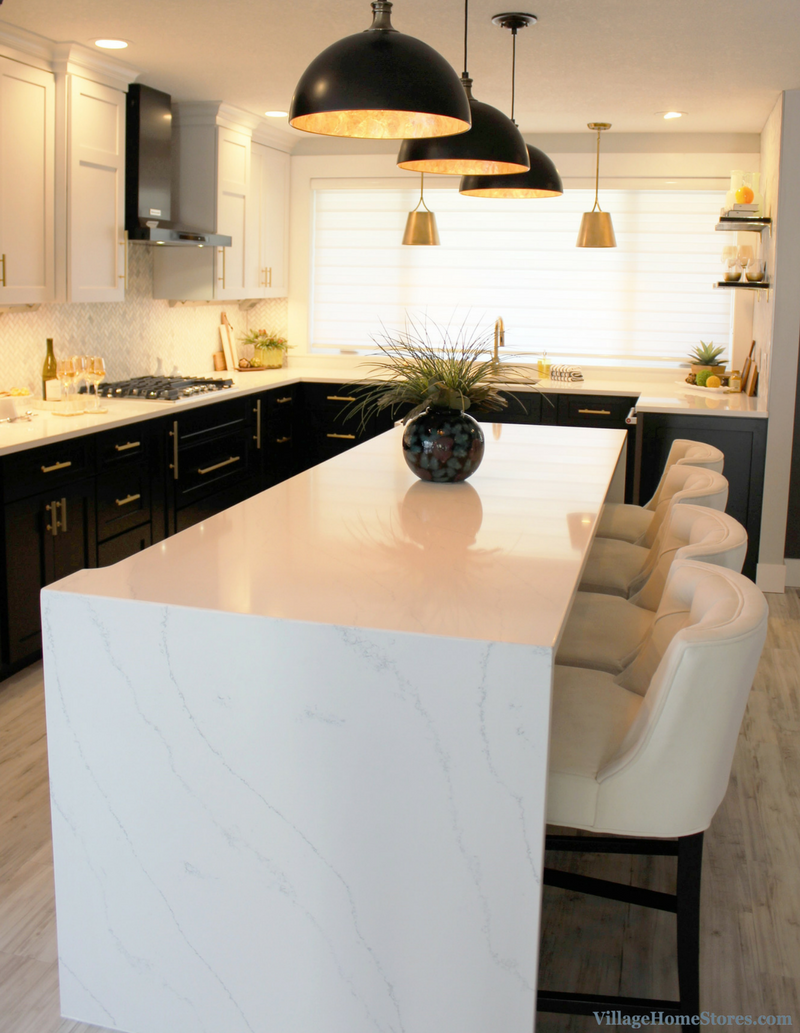 Hanstone quartz counters in the Tranquility design in a remodeled Coal Valley, IL kitchen. VillageHomeStores.com