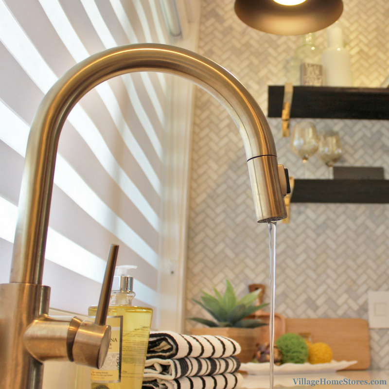 Brushed Gold Kohler kitchen faucet. | VillageHomeStores.com