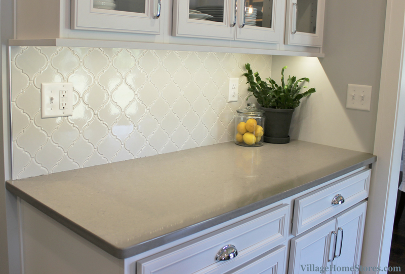 Arabesque backsplash tile in a white painted kitchen. | VillageHomeStores.com