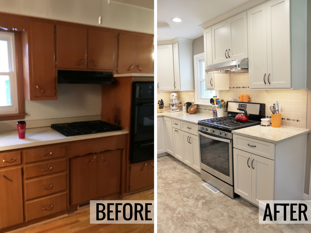 Before and after of a remodeled kitchen in Rock Island, IL. | VillageHomeStores.com