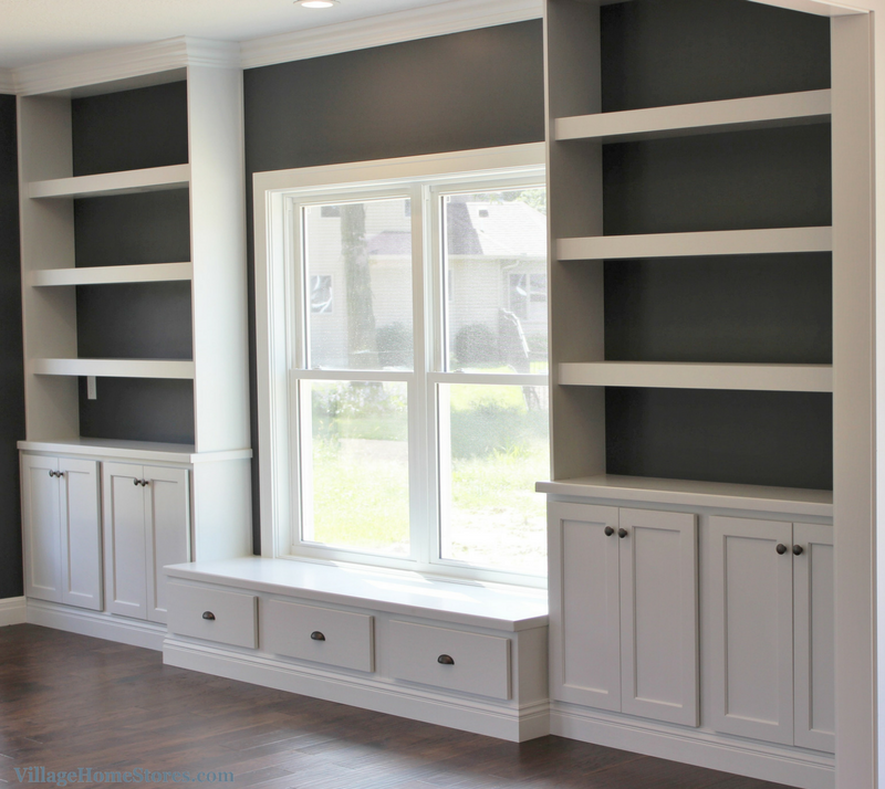 Custom built-in cabinetry with a bench seat area. | VillageHomeStores.com
