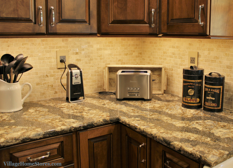 A Geneseo, IL kitchen including 1x2 Crema Cappuccino backsplash tile. | VillageHomeStores.com