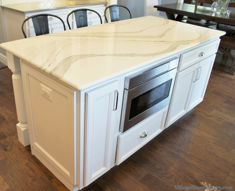 Kitchen island with Sharp microwave drawer. Home by Hazelwood Homes. | VillageHomeStores.com