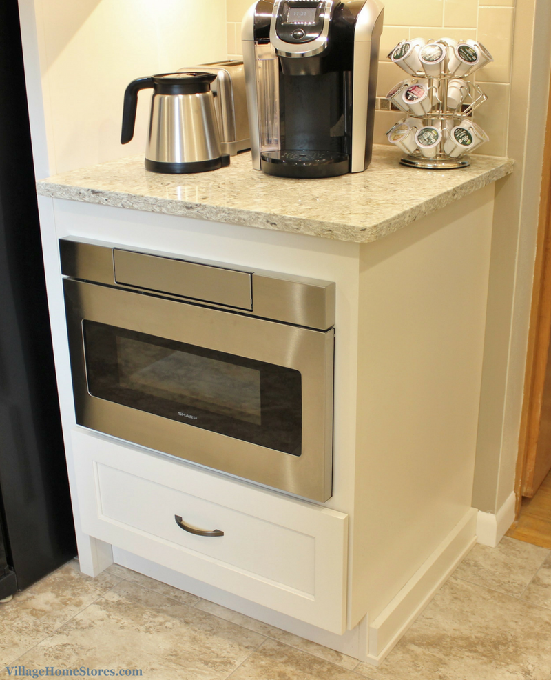 A Rock Island, IL kitchen with microwave drawer below coffee station. | VillageHomeStores.com