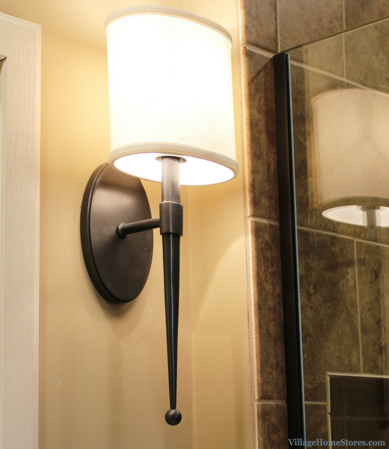 Hudson Valley wall sconce in Moline, IL bathroom remodeled by Village Home Stores. | VillageHomeStores.com