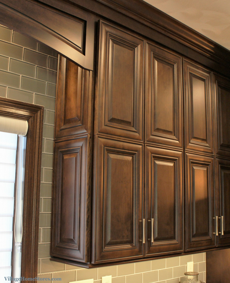 Koch cabinetry Westbrook door in Birch Mocha stain. Double panel door with cabinetry to ceiling. | VillageHomeStores.com