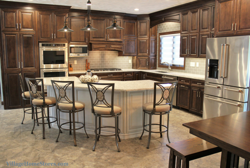 Birch Mocha kitchen in Geneseo, IL with Cambria Quartz and KitchenAid appliances for Hazelwood Homes. | VillageHomeStores.com