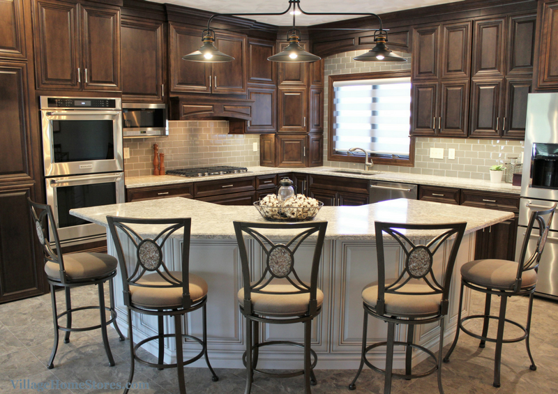 Unique island shape ideas. Kitchen design by Village Home Stores for Hazelwood Homes. | VillageHomeStores.com