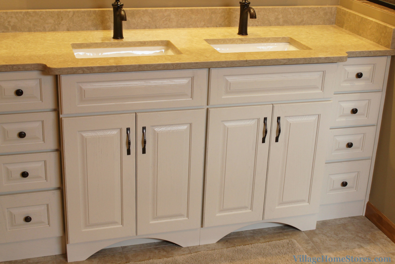 Moline, IL bathroom with painted oak vanity. Remodeled from start to finish by Village Home Stores. | VillageHomeStores.com