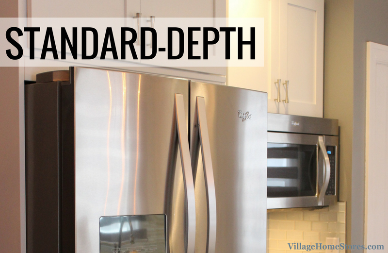 Example of a standard depth refrigerator projecting into the kitchen. | VillageHomeStores.com
