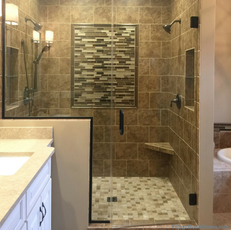 Moline, IL bathroom with custom tiled shower. Remodeled from start to finish by Village Home Stores. | VillageHomeStores.com