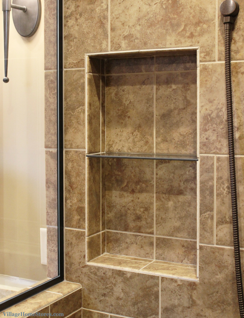 Custom tiled shower in Moline, IL bathroom. Tile and installation from Village Home Stores. | VillageHomeStores.com