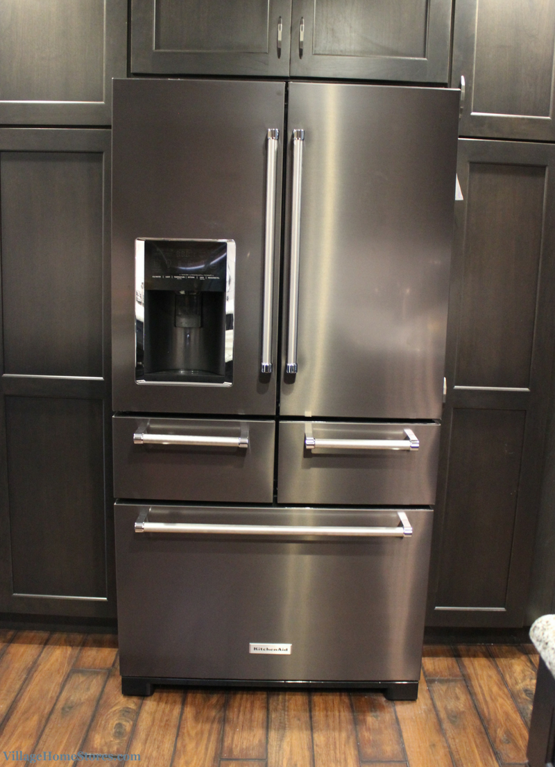 A Bettendorf, IA kitchen with KitchenAid Black Stainless 5 door refrigerator. Appliances and full remodel by Village Home Stores. | VillageHomeStores.com