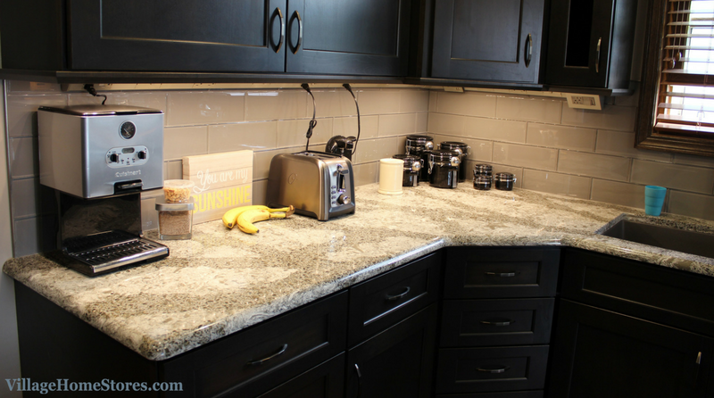 A Bettendorf, IA kitchen with legrand undercabinet lighting and outlet system. | VillageHomeStores.com