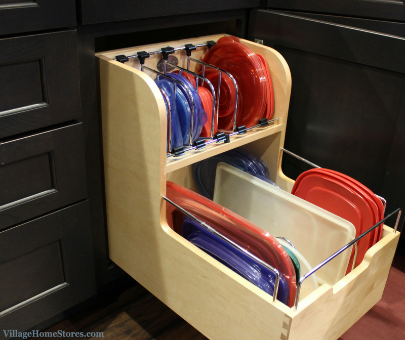 A Bettendorf, IA kitchen with Rev a Shelf pull out storage container organizer. | VillageHomeStores.com