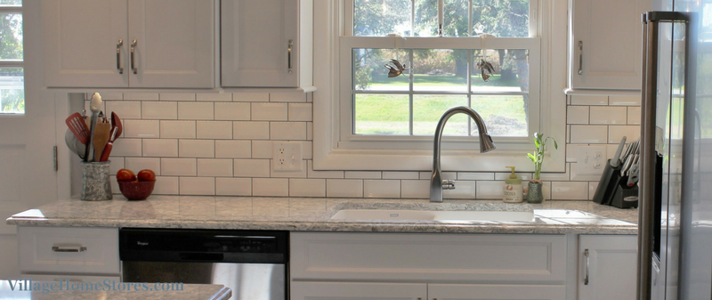 A Prophetstown, IL kitchen with beveled subway tile and LED lighting. | VillageHomeStores.com