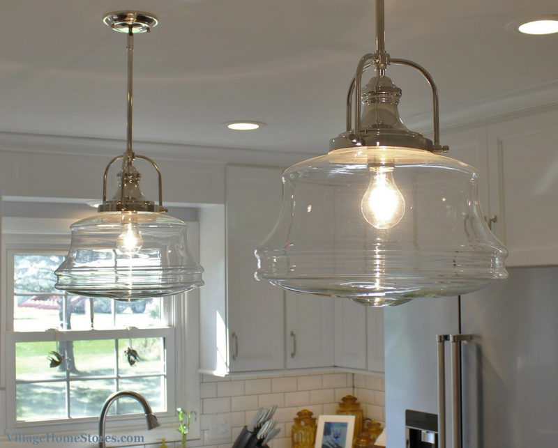 A Prophetstown, IL kitchen with schoolhouse pendants by Savoy House. | VillageHomeStores.com
