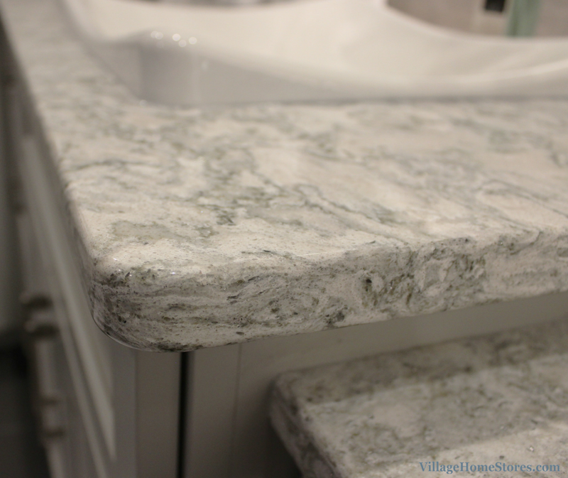 Davenport bathroom remodel with Cambria Berwyn quartz tops. | VillageHomeStores.com