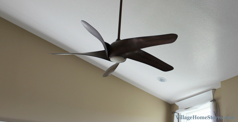 Unique modern ceiling fan from Minka in a Davenport, IA home. Lighting by Village Home Stores. | VillageHomeStores.com