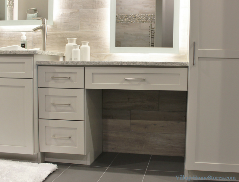 Davenport bathroom remodel with DuraSupreme cabinetry in painted Pearl finish. | VillageHomeStores.com
