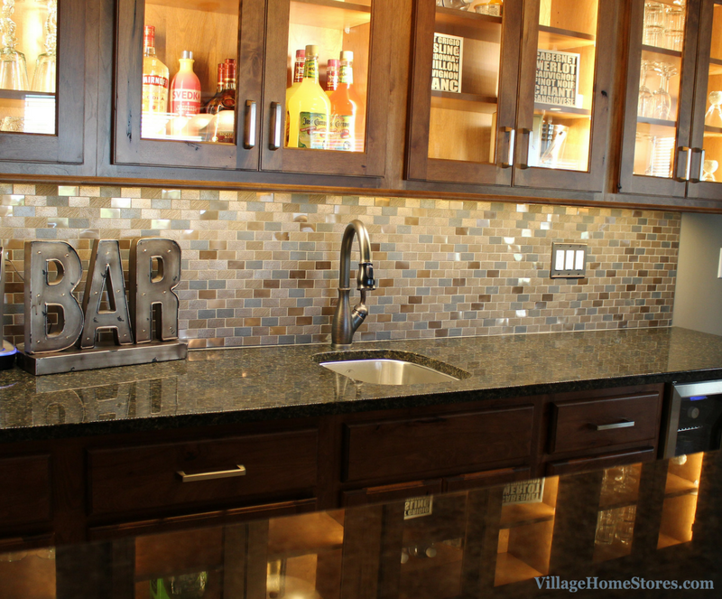 Koch Cabinets and beautiful wall tile in Davenport Home Bar. | VillageHomeStores.com