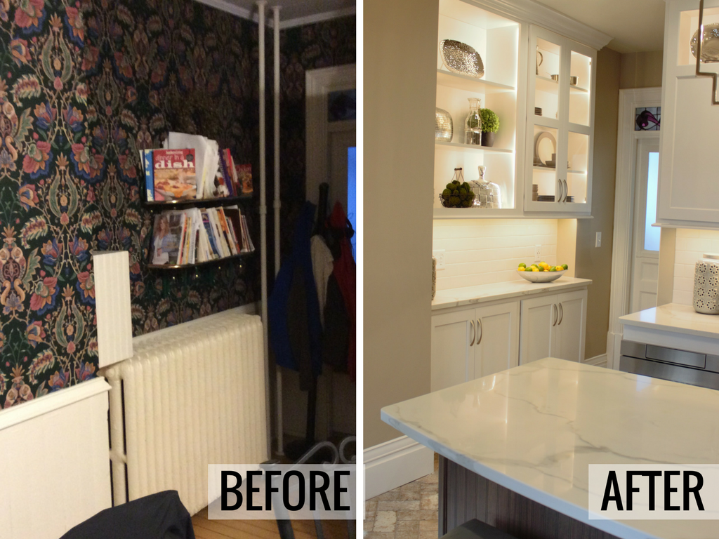 Before and after from a Historic homes remodel. New hutch area installed as part of kitchen remodel by Village Home Stores. | VillageHomeStores.com