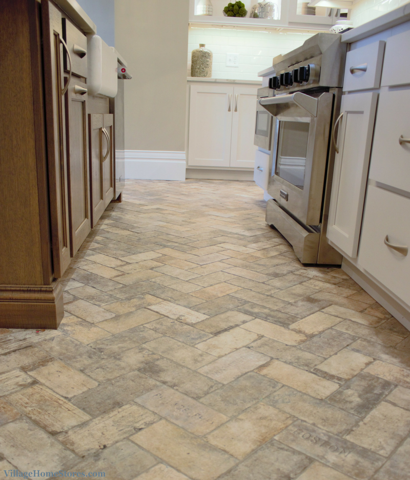 Brick tiled flooring installed in a remodeled historic kitchen. | VillageHomeStores.com