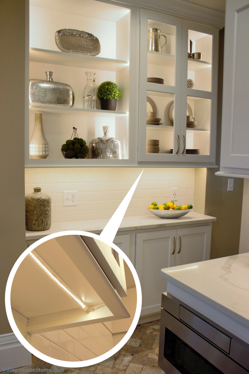 Diode LED undercabinet lighting in a hutch area of remodeled kitchen. | VillageHomeStores.com
