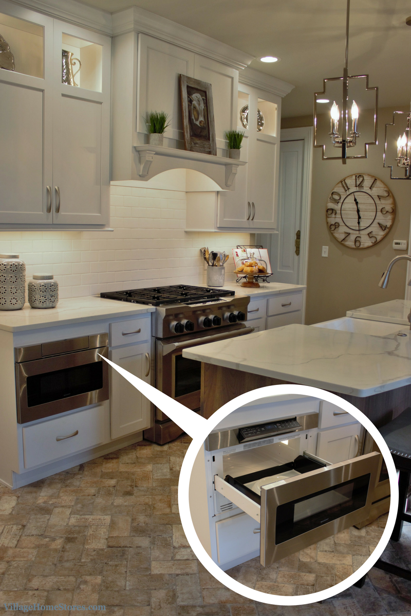 Stainless Steel appliances in a white painted kitchen. Sharp microwave drawer. | VillageHomeStores.com