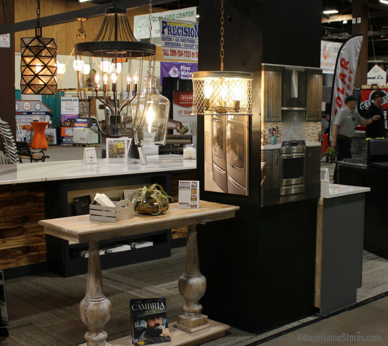 Lighting in the 2018 QCBR Home Show booth by Village Home Stores. | Village Home Stores