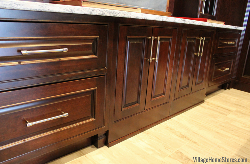 Custom Cherry inset cabinetry by DuraSupreme in a Quad Cities Area home Library. Chapel Hill door and Chestnut stain. Design and material by Village Home Stores. | VillageHomeStores.com