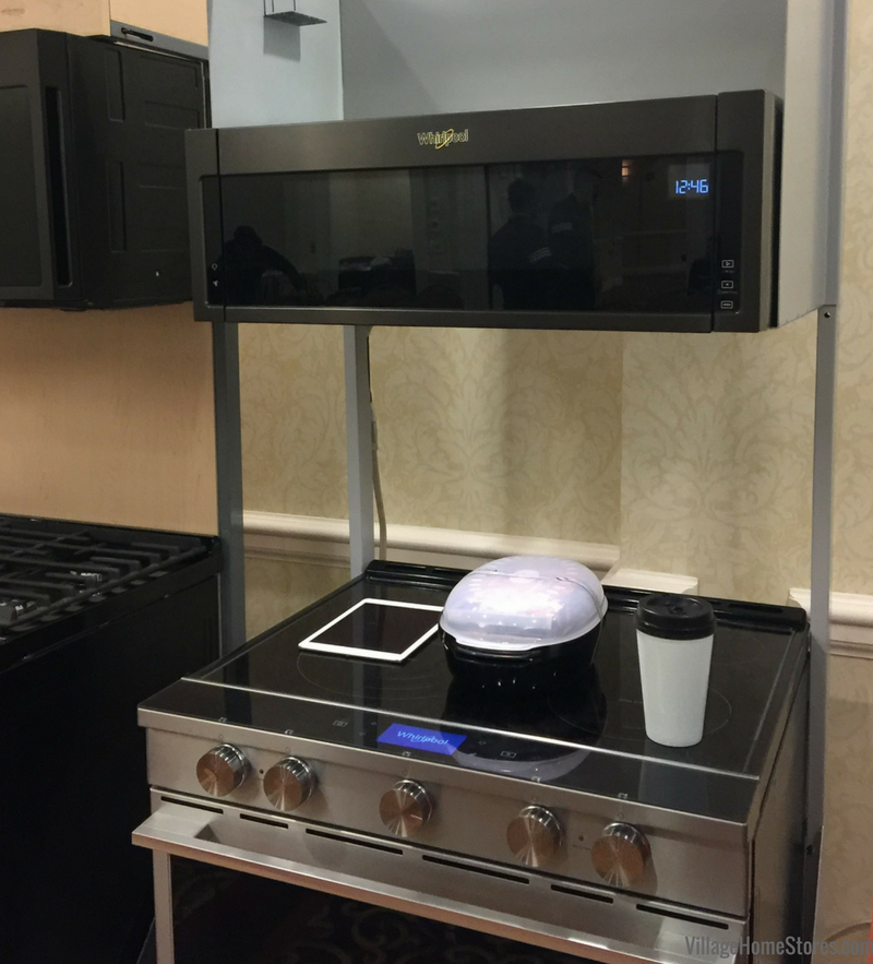 The new low-profile microwave hood (shown in Black Stainless) available from Whirlpool at Village Home Stores. | VillageHomeStores.com