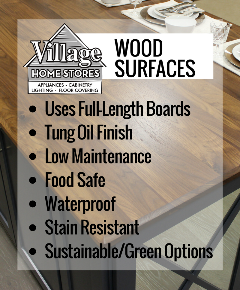 Wood countertop surfaces for your home from the kitchen and bath experts at Village Home Stores. | VillageHomeStores.com