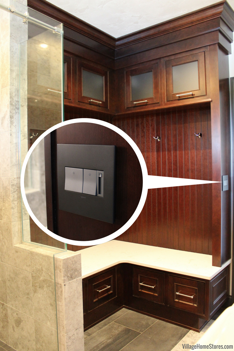 Custom cabinet with outlet on side panel. Design and materials by Village Home Stores. | VillageHomeStores.com