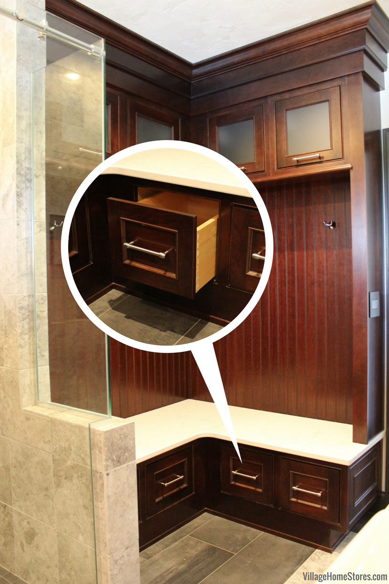 Great storage cabinet created as a a built in locker area of bathroom design. | VillageHomeStores.com