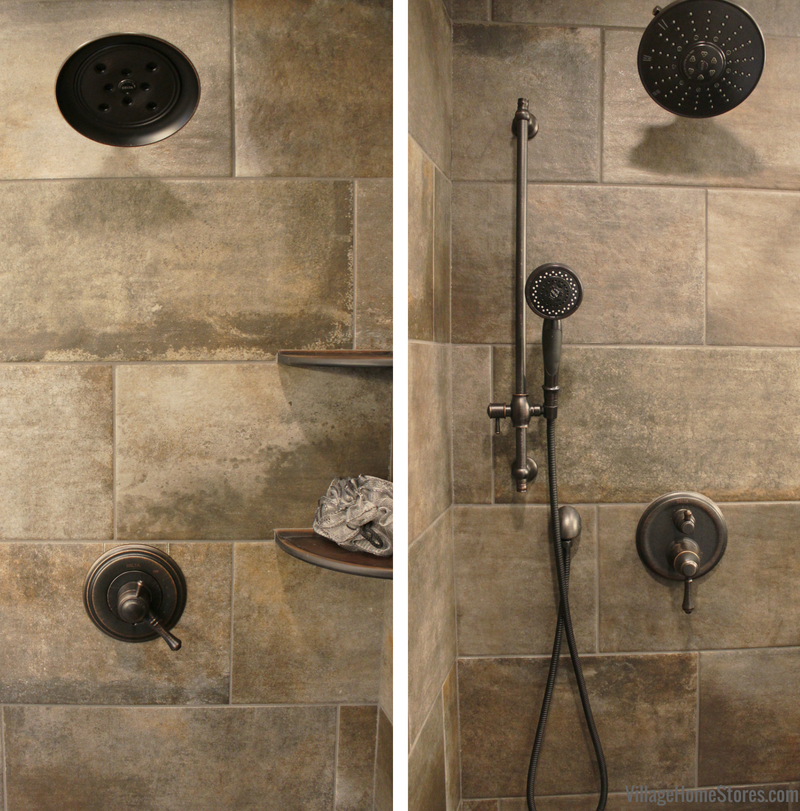Bathroom remodel in Moline, IL with custom tiled shower dual showerheads. | VillageHomeStores.com