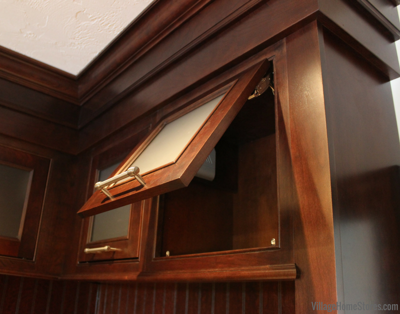 Top hinge cabinet in a built in locker area of bathroom. | VillageHomeStores.com